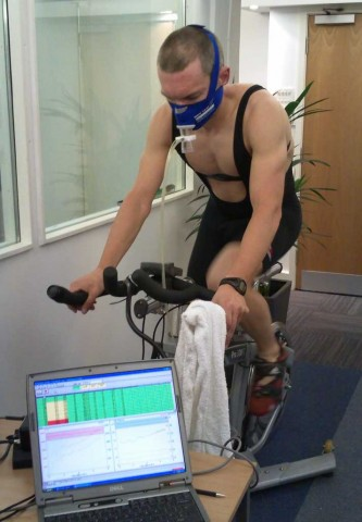 Russ's metabolic testing on a stationary bike