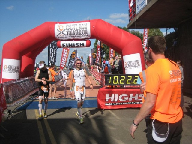 Outlaw Triathlon - Ironman Finish Line Photo - Russ Cox
