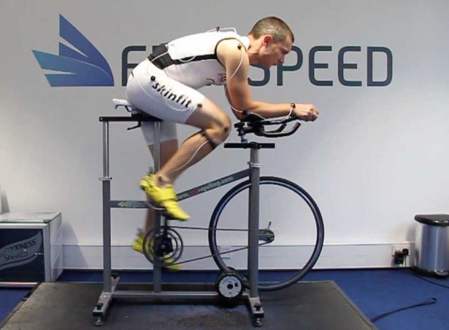 New race position for Russ Cox on a fit bike at the Freespeed Studio