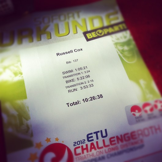 Challenge Roth 2012 - Russ Cox Result