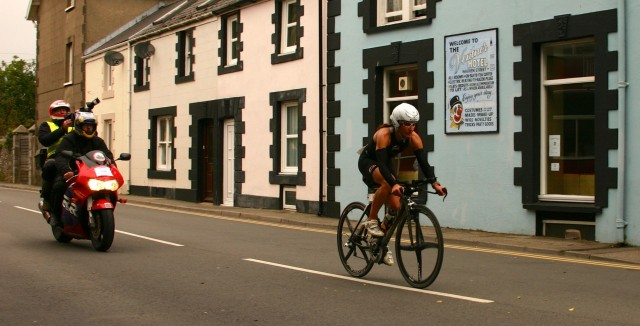 Ironman Wales 2012: Lead Female Pro, Regula Rohrbach, returning on the bike.
