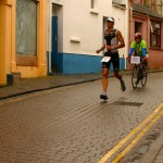 Ironman Wales 2012: Lead male pro, Sylvain Rota, on his way to win.
