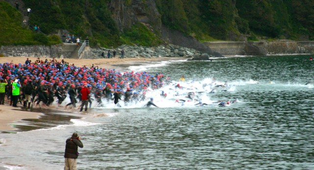 Ironman Wales 2012: Swim Start on Tenby Beach