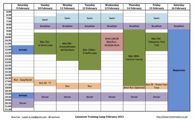 Coach Cox Lanzarote Training Camp 2013 Timetable