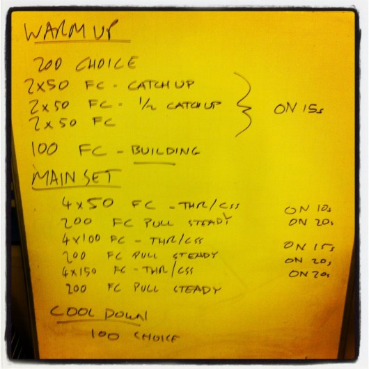Swim set: Tuesday 6th August 2013