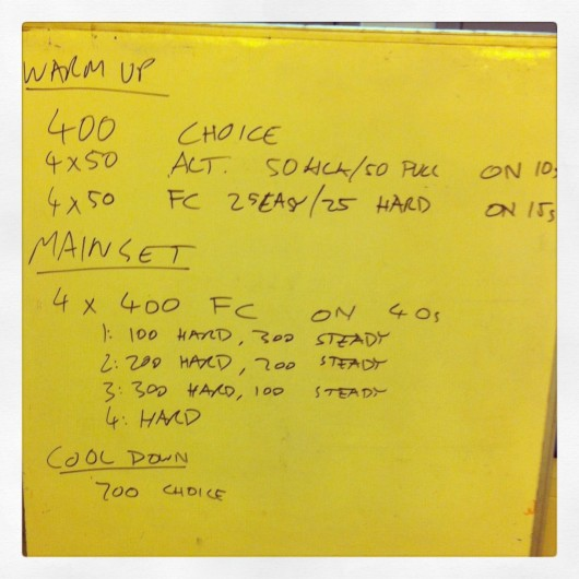 Tuesday 13th August 2013 - Threshold Swim Session