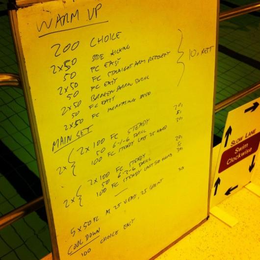 Swim Set - Tuesday 22nd October 2013