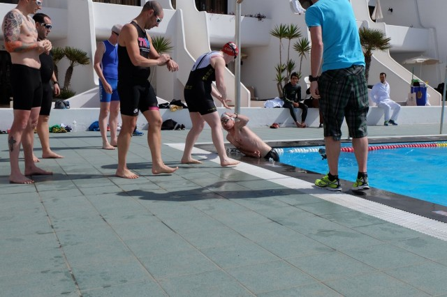 Swim relay transition