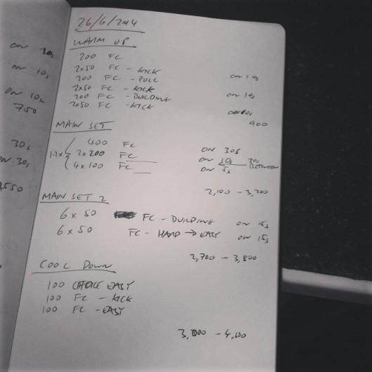 Thursday, 26th June 2014 - Endurance Swim Session