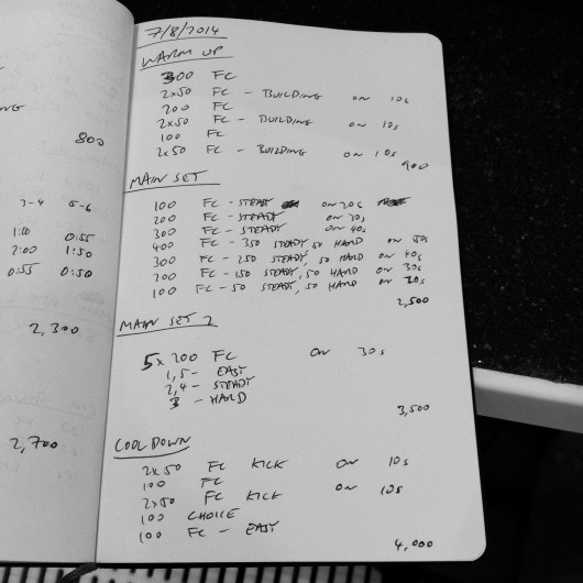 Thursday, 7th August 2014 - Endurance Swim Session