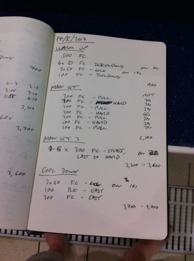 Thursday, 14th August 2014 - Endurance Swim Session