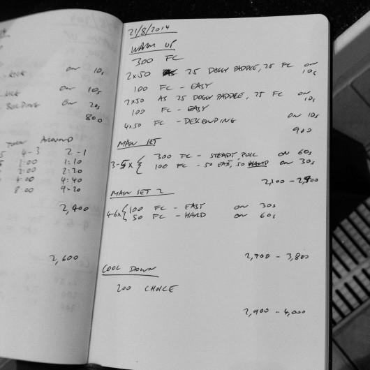 Thursday, 21st August 2014 - Endurance Swim Session