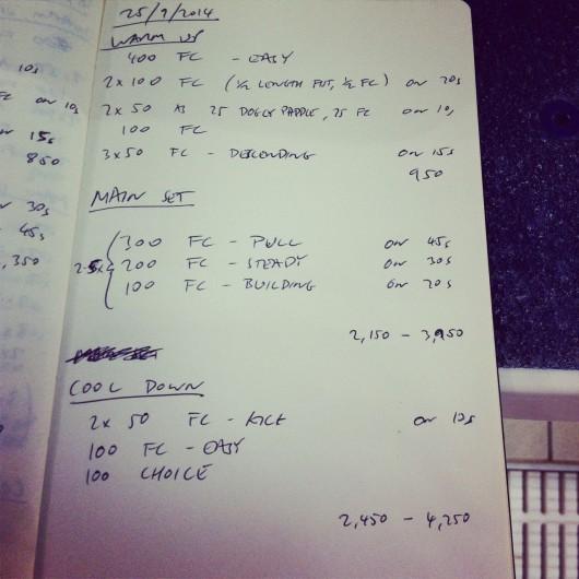 Thursday, 25th September 2014 - Endurance Swim Session