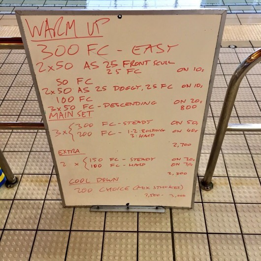 Wednesday, 25th March 2015 - Endurance Swim Session