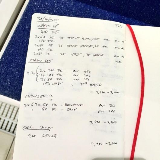 Thursday, 30th July 2015 - Endurance Swim Session