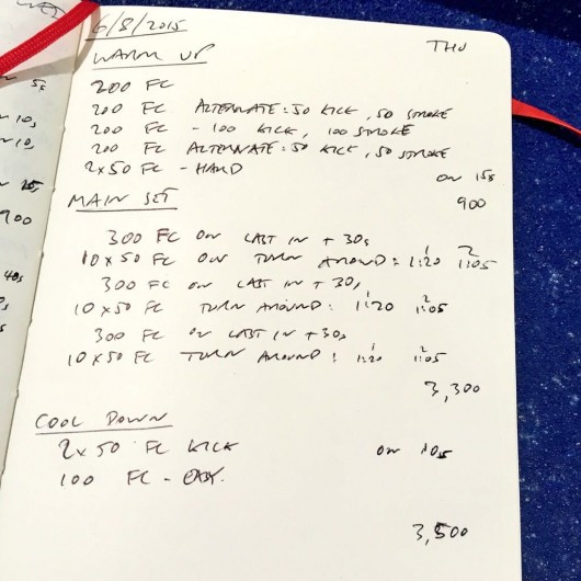 Thursday, 6th August 2015 - Endurance Swim Session