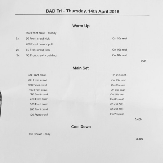 Thursday, 14th April 2016 - Swim Session