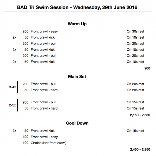 Wednesday, 29th June 2016 - Swim Session
